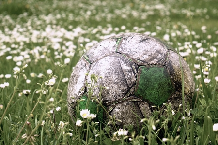 Old football ball hidden in the high grass flower and filed
