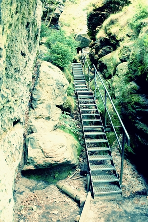 stair climber: Ladder stair climbing on mountain
