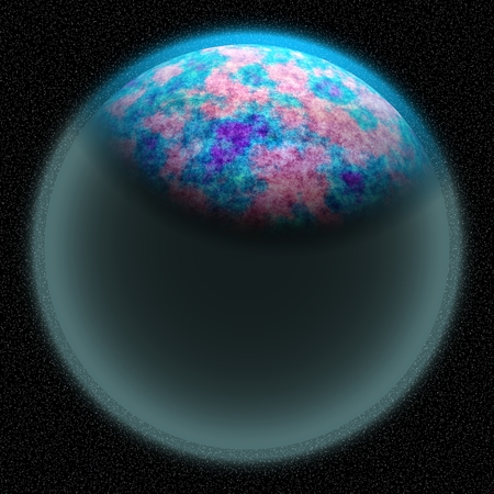 coarse: Unknown planet lost in the far corner of universe. A planet with shinning atmosphere hidden  somewhere in dark space Stock Photo