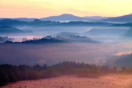 Misty dreamy landscape at begining of November Stock Photo