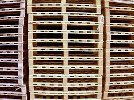 euro pallet: Stock of new wooden euro pallets at transportation company. Stock Photo