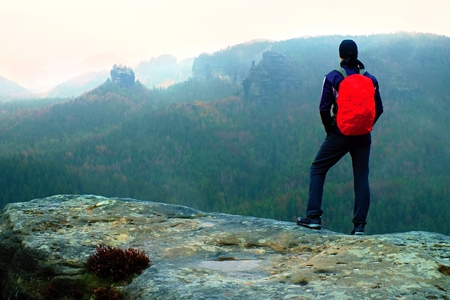 ロック帝国公園と地平線に霧と霧のスプリング バレーを見て鋭い砂岩の岩の上の赤いバックパックでハイカー。 写真素材