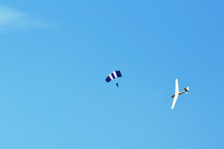 Memorial Airshow, 24th of June 2017, Roudnice, Czech Republic. Let L-13 Blanik glider, sailplane with parachutist or skydiver