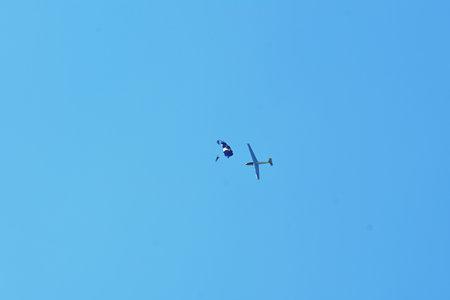Memorial Airshow, 24th of June 2017, Roudnice, Czech Republic. Let L-13 Blanik glider, sailplane with parachutist or skydiver Stock fotó - 82141948
