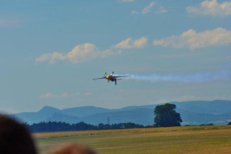 Memorial Airshow, 24th of June 2017, Roudnice, Czech Republic. The aerobatic team flying in Extra 330, especial  aerobatic plane