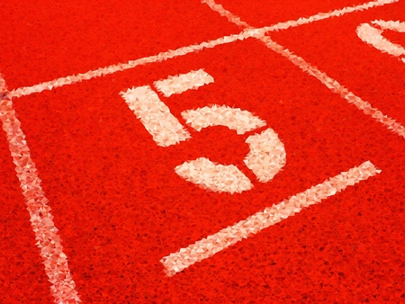 Low poly design.  White track number on red rubber racetrack, texture of running racetracks in stadium