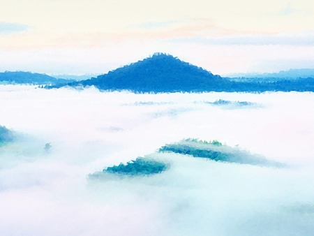 Low poly design. Misty awakening in a beautiful hills. Peaks of hills are sticking out from fog