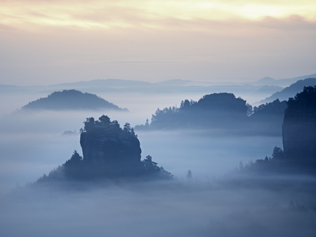 Misty view in the beautiful valley of Saxony Switzerland. Sandstone peaks increased from heavy fog. The first strong sun rays cut the mist to sharp strip.