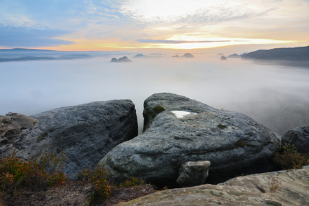 Amazing moment  within autumnal daybreak in Saxony Switzerland national park. Sharp sandstone peaks increased from colorful thick mist Stock Photo