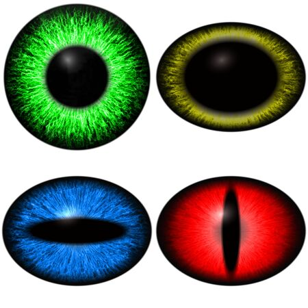 Four color yes set with diferent pupil size. Eye isolated on white background