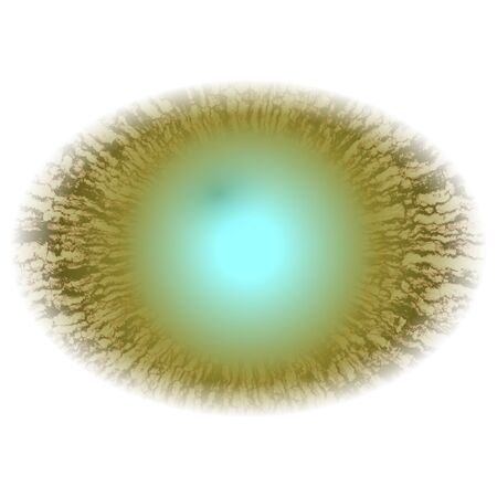 Green blurred eye, rays of yellow green animal eye with open pupil and bright retina in white background.