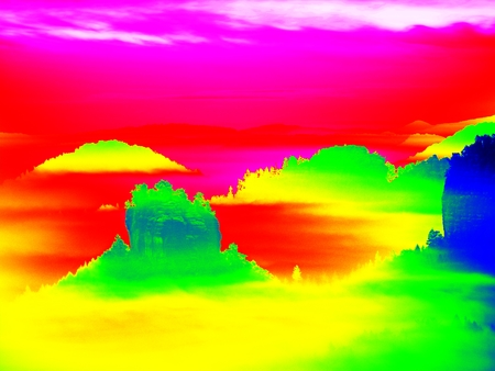 Thermography photo. Animal view. Spring misty landscape. Hills, forest and fog with changed colors to ultraviolet.
