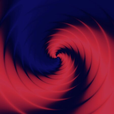 Blue red purple psychedelic spiral pattern background. Whirl in cube.