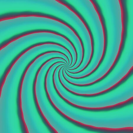 Green blue retro psychedelic whirl. Turning of crazy propeller.  Stock Photo