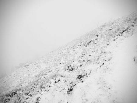 Close up to rocky terrain with fresh powder snow, landscape hidden in heavy fog. Misty winter day Stock Photo