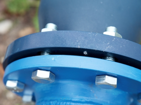 Detail of fittings on new ball valve. The cetral steam heating system for urban settlement.