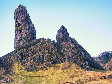 Close view to Old Man of Storr, Isle of Skye ,Scotland. Cold winter morning with clear sky Stock Photo