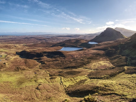 Quiraing mountains in winter midday. Hilly landscape of Isle of Skye, Scottish Highlands. Breathtaking view