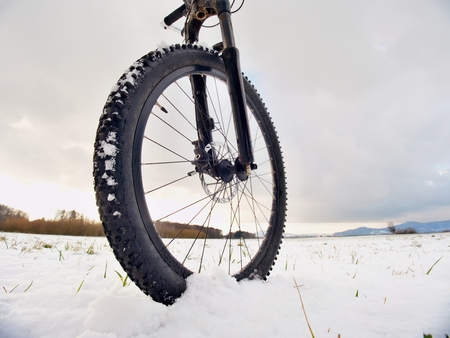 Extreme race in snow. Winter adventure and extreme cycling concept, sport fitness motivation and inspiration.