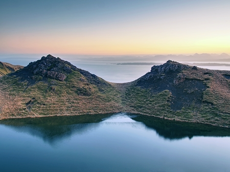 Landscape view of mountain lake.  Isle of Skye,  Scottish highlands ,United Kingdom Stock Photo