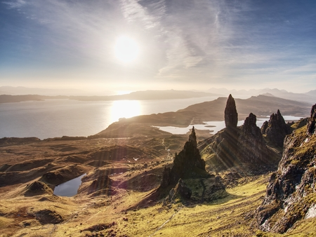 Famous view over Old Man of Storr in Scotland. Popular exposed rocky tower.