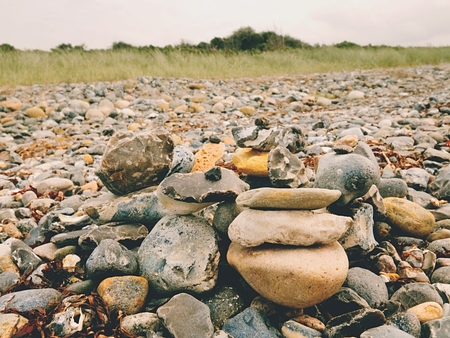 Sea stones for design. Abstract background with pebbles, detail Stock Photo