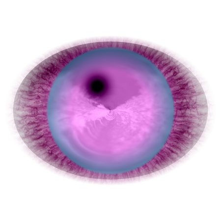 Rentgen photo. Isolated elliptic animal red eye with large pupil and bright retina. Shinning iris around pupil detail view into eye bulb
