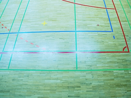 Court floor with line on wood texture background.  The  floor with several lines painted