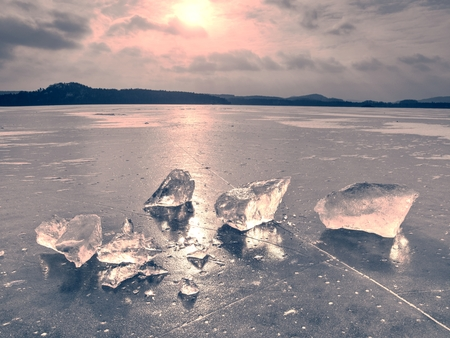 Ice fragments on frozen lake water level. The ice broken into shinning jagged pieces.  Dark natural backlight