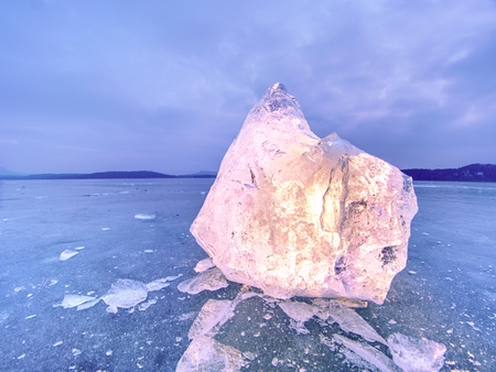 Light purple blue icy blocks oon natural background with detailed white cracks. Stok Fotoğraf