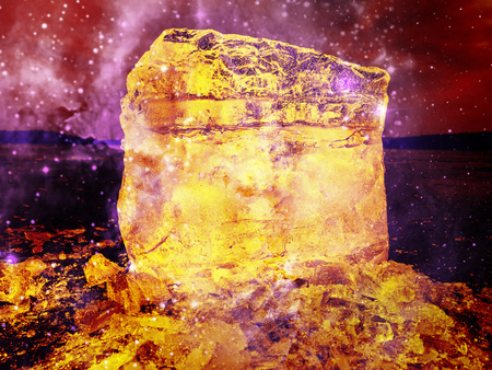 Burning Ice. Flames in floe. Beautiful epic ice crystal in the frozen bay.  Sun rays reflection in cracks. Hipster filter.