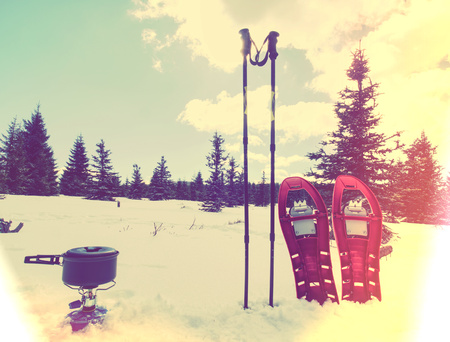 Trip  out to snowy landscape. Travel Lifestyle concept, snow mountains. Hikers winter vacation.  Hipster filter.
