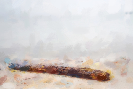 Oil painting effect. Dead tree trunk on tropical beach in sunset time.  Rotten trunk Stock Photo