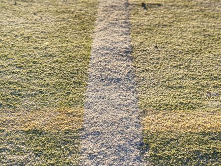 Border line in handball playing field.  The outdoor handball playground plastic light green surface on ground.
