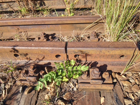 Old abandoned rail and bolt of a railway.  Rusty train railway detail, oiled sleepers and stones between rail way