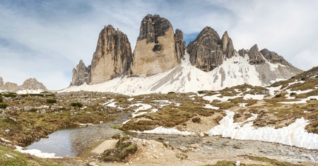 The mountain river against the sharp mountains in Dolomites. Water  come from a thawing snow or glacier