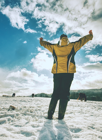 Woman is shouting to horses in snow. Lady in yelow black clothes and rubber boots gesture signals. Low angle view. Imagens