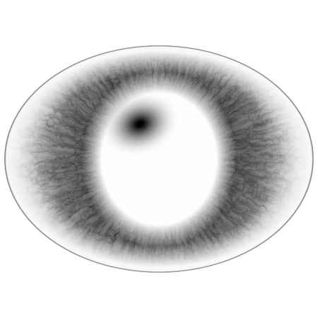 Abstract glowing blue animal eye, light effect on white background Imagens