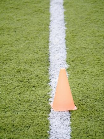Football equipment football field training view from loe angle
