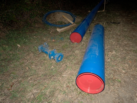 Water supply system. Replacing of broken pipes with PVC tubec for water delivery