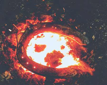 Heating process of metal  bar on the hot coals for forging horse shoe on the anvil