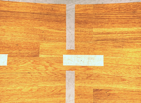 White lines or battens ground or floor pattern surface texture.  Line of empty hand ball  field in the gymnasium stadium