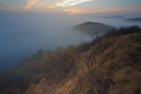 Lazy misty morning mountains. Rounded exposed hill. Thick fog. Blue silent landscape. 스톡 콘텐츠