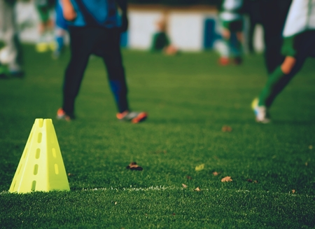 Training equipment on the green field of the stadium. Banana and small cones in line. Stock fotó
