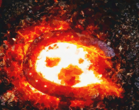 Effect watercolor paint. Heating process of metal  bar on the hot coals for forging horse shoe on the anvil Imagens