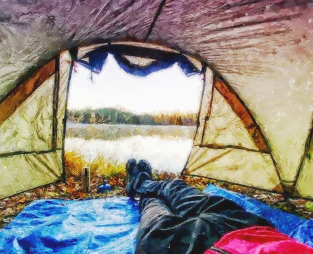 Effect watercolor paint.  Body in camping tent to lake in beautiful morning. Enjoy freedom in pure nature.