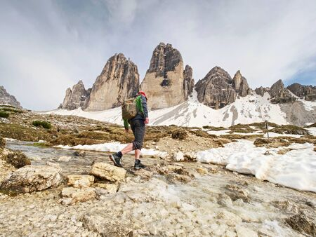 Popular Tre Cime di Lavaredo tour around sharp tree  four peaks massif. Dolomite Alps - Italy. Europe Stock fotó