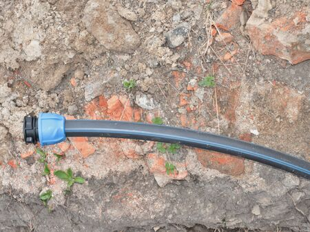Plastic pipe, for water supply, laying tubes construction under house
