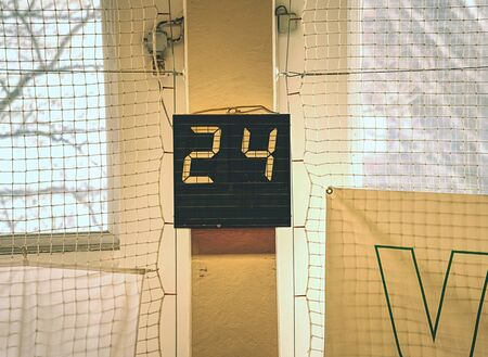 Old digital timing scoreboard, Sport match result board  for presentation score or game situation display Stock Photo