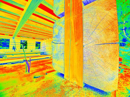 Thermal Image of Heat Leak through Windows. Traditional  timber house in thermography scan. Stok Fotoğraf